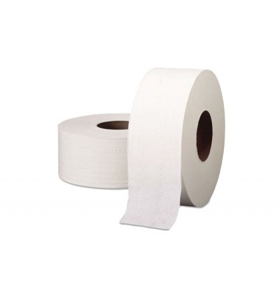 2 Ply Virgin Pulp Embossed Jumbo Roll Tissue - 85mm x 130m x 12packs